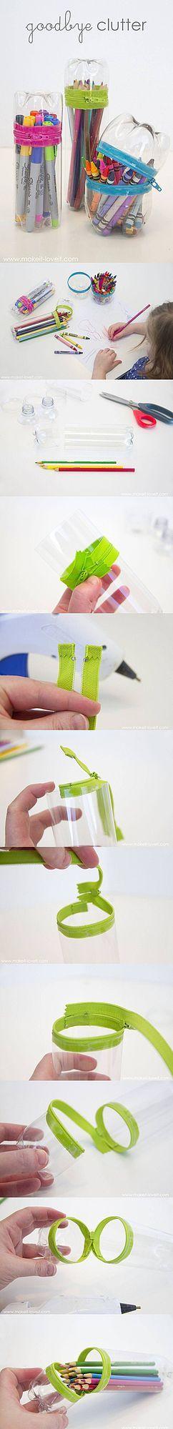 Estuches reciclando botellas de plástico – No-Sew Zipper Cases from Plastic Bottles Elabora originales estuches con botellas plásticas recicladas y contribuye con el medio ambiente. En nuestro blog ap