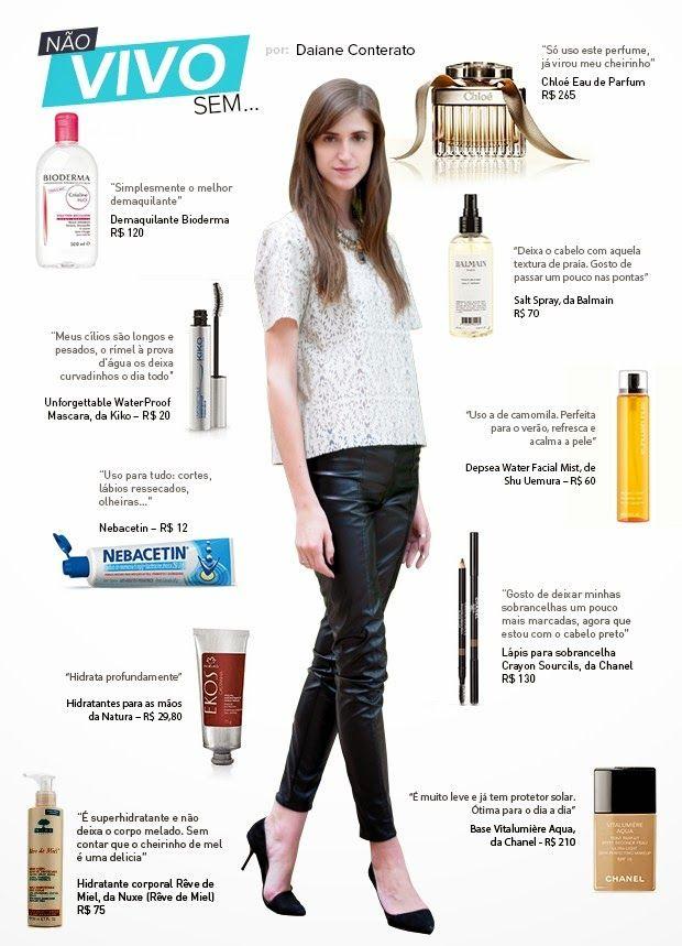 A modelo Daiane lista seus dez produtos de beleza