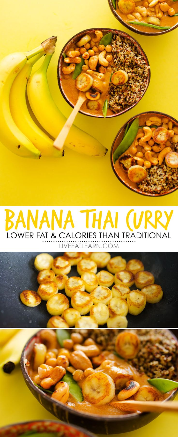 This Banana Thai Curry recipe, with mashed bananas, red curry paste, chickpeas, and cashews, is a simple, healthy vegan meal with less fat and calories than traditional Thai curry recipes. // Live Eat Learn