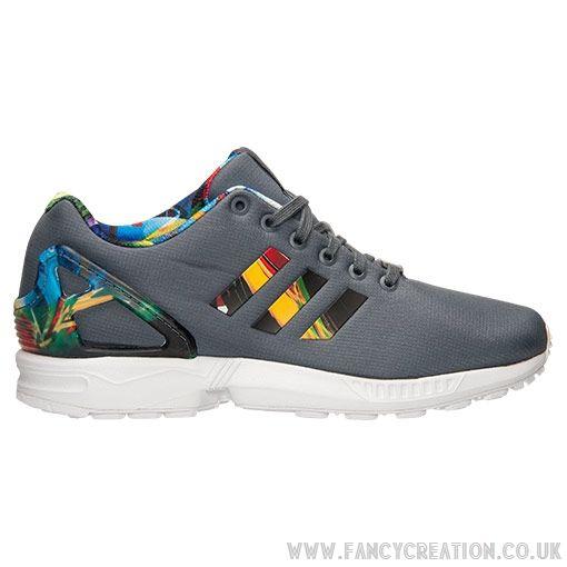 100% Casual Shoes Zx Flux Men'S Adidas Print Onix Onix Multicolor