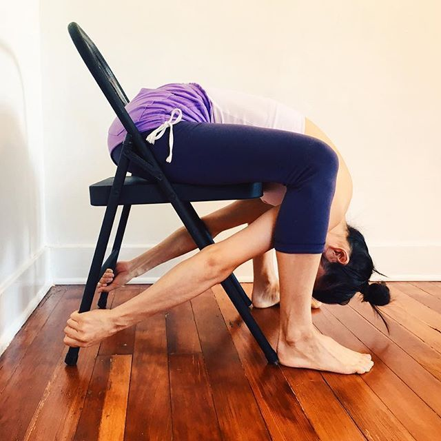 DETAIL + DEPTH | This next pose is Malasana with a chair. Its purpose in the sequence is to strengthen the arm to leg relationship. To enter Astavakrasana, it is common to start seated and bring the upper arm under the leg, as if taking Eka Pada Sirsasana, Eka Hasta Bhujasana, or any of the Leg behind the Head poses. Depending on one's body proportions, one may need to side bend to shorten the torso to do this. As well, hug the legs into the body to strengthen the adductors and the…