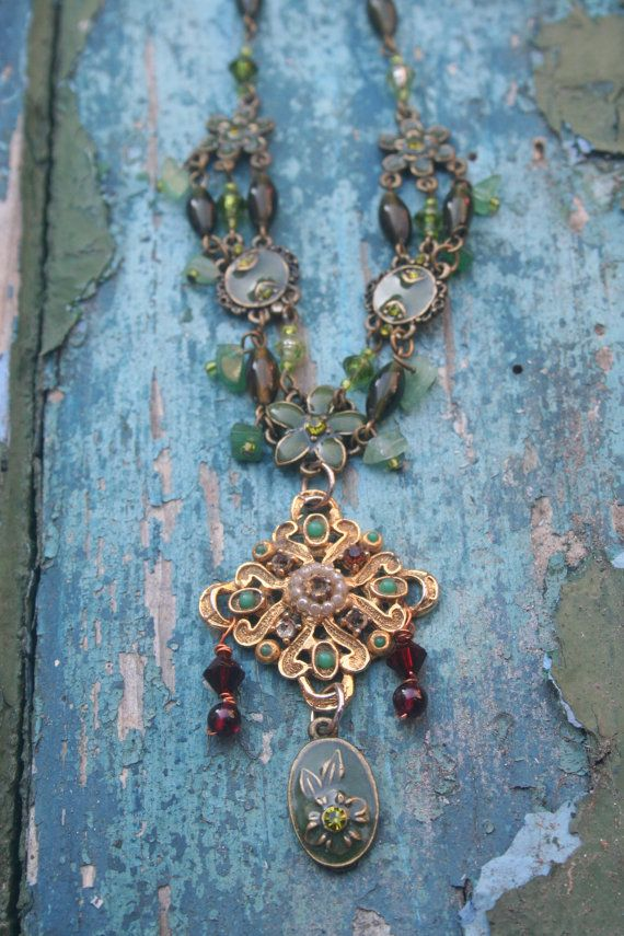 Crusaders Cross Bohemian necklace Assemblage jewelry