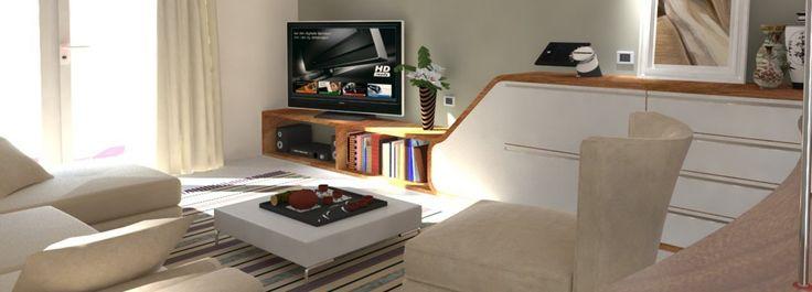Ricavare una zona #studio nel #soggiorno, con pavimento chiaro e pareti bianche, e di inserire anche un armadio che non sembri però il classico armadio. Il soggiorno è adiacente alla cucina, disimpegnato dall'ingresso.