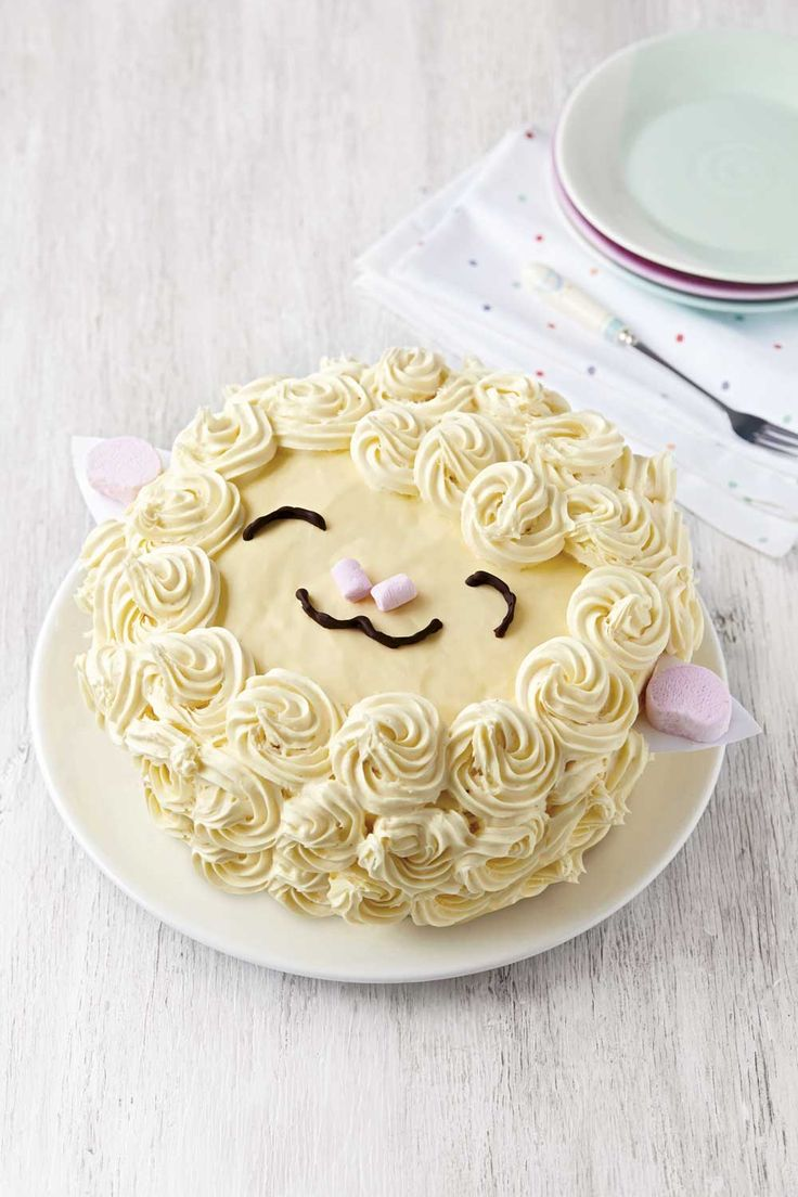 Baa Baa cake recipe, perfect for Easter baking. Get the recipe at Reonline.co.uk