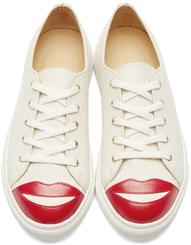 Charlotte Olympia Cream Low-Top Kiss Me Sneakers