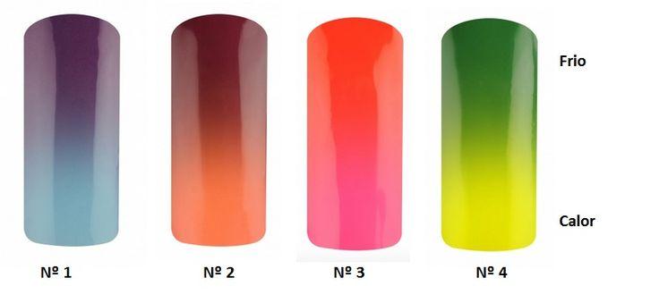 Esmaltes permanentes que cambian de color con la temperatura externa. También conocidos como esmalte camaleón.