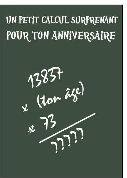 Carte Un calcul pour ton anniversaire pour envoyer par La Poste, sur Merci-Facteur !