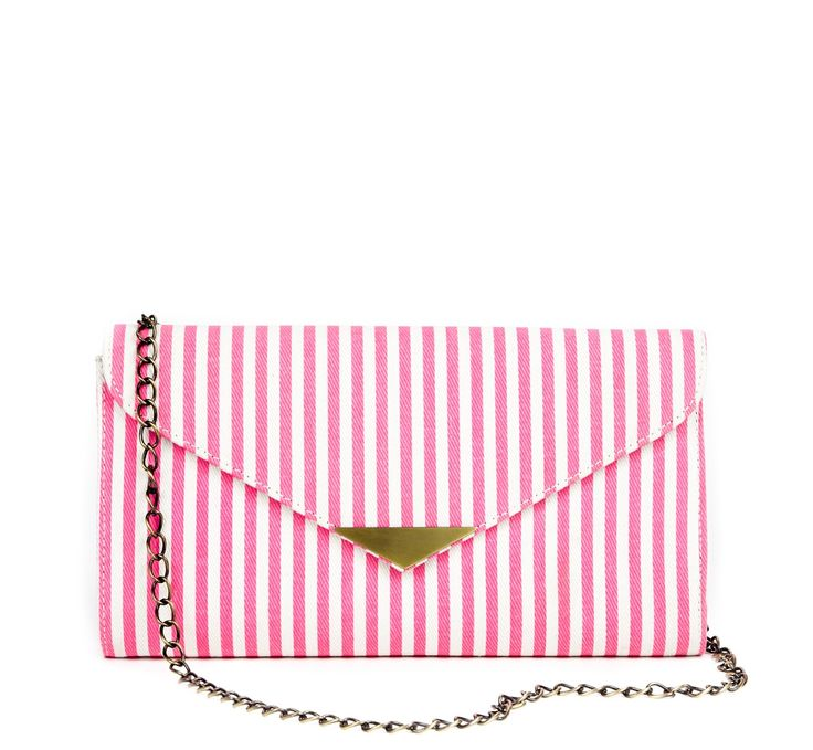 Pink and White Striped Clutch Purse