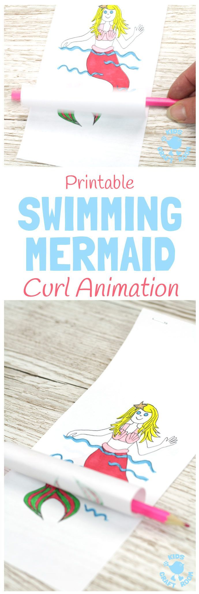 SWIMMING MERMAID CRAFT -PRINTABLE CURL ANIMATION. Easier than flip books kids can colour the mermaid and make her wave her hand and swish her tail in minutes! This interactive Swimming Mermaid activity is lots of fun and introduces kids to the simple curl