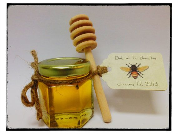 "40 qty mini honey favors with personalized tag and 4"" honey dipper"