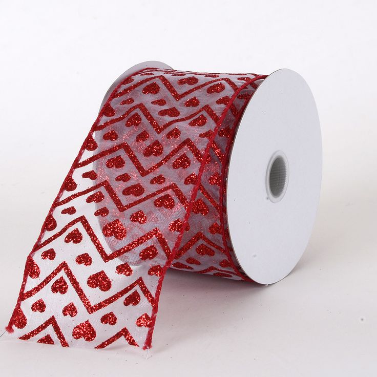 white with red glitter hearts and chevron wired edge valentine ribbons 2 1 - Valentine Ribbon