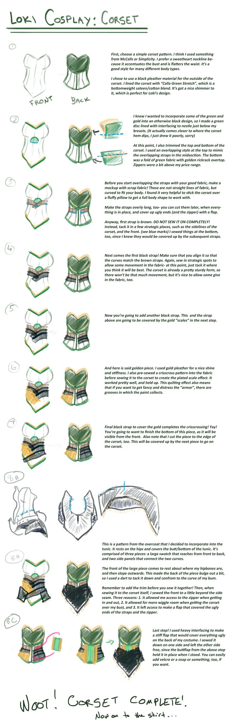 Loki cosplay guide: Corset by SirLadySketch.deviantart.com on @deviantART
