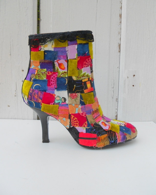 FA.BU.LOUS!!!!!    Size 7 Ankle Boots Patchwork Artist Funky Technicolor Upcycled DIY Altered Couture. $89.00, via Etsy.: Funky Shoe, Patchwork Artist, Ankle Boots, Boot Fetish, Artist Funky, 89 00, Shoe Styles