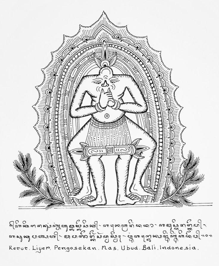 Dibujo de Ketut Liyer, curandero de Bali, amigo de Elizabeth Gilbert, autora de Comer, Rezar y Amar. Ketut Liyer define el equilibrio en un dibujo:  los cuatro pies en la tierra  y mirar desde el corazón.  Estar firmes, centrados y amorosos.