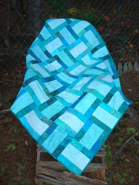Aqua Teal Sea Glass Lap Quilt Baby Quilt by Jackiesewingstudio