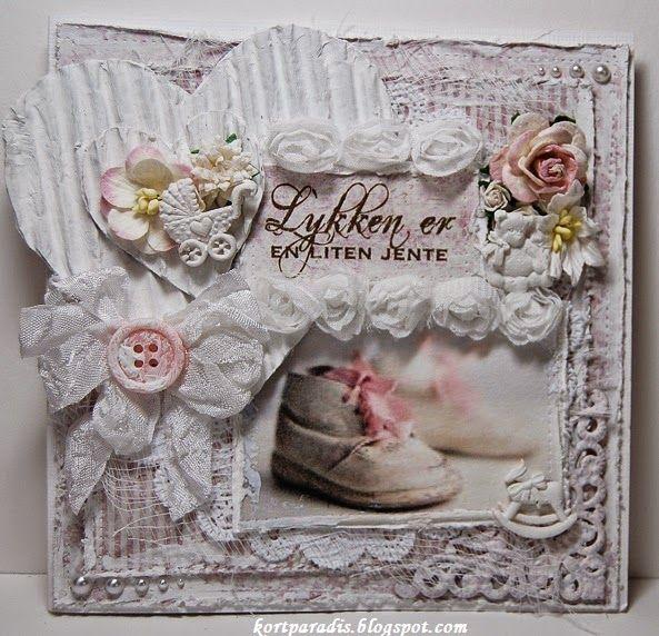 Kortparadis Handmade Håndlaget Scrapping Scrappe Baby Babycard Babykort