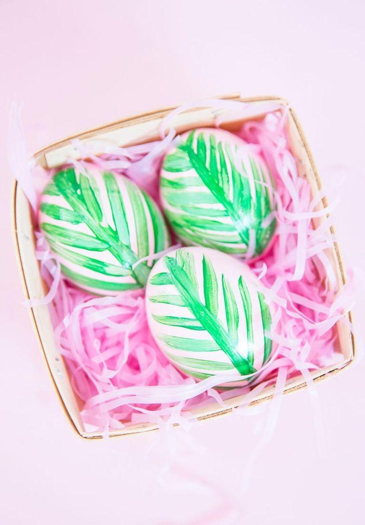 DIY Pink Palm Leaf Easter Eggs   Best Friends For Frosting