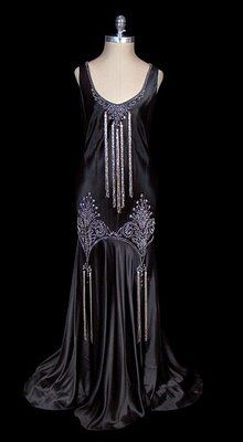 Circa 1930s Black Satin Vintage Gown