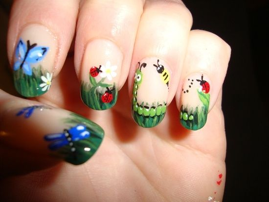 hand painted garden scenery nails, nude nails with caterpillars, flowers, butterflies, ladybugs and bees.