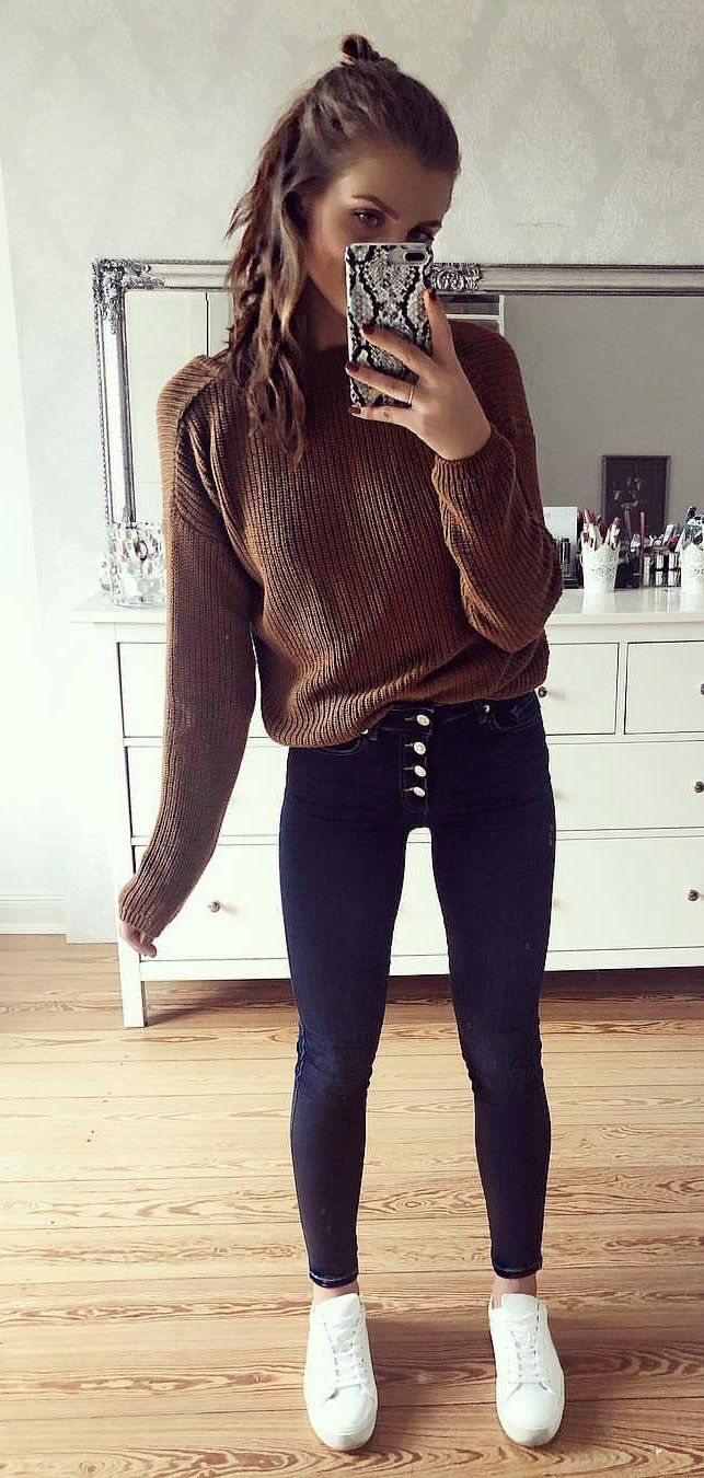 brown sweater #spring #outfits