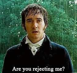 """""""Mr. Darcy, who was leaning against the mantelpiece with his eyes fixed on her face, seemed to catch her words with no less resentment than surprise. His complexion became pale with anger, and the disturbance of his mind was visible in every feature. He was struggling for the appearance of composure, and would not open his lips till he believed himself to have attained it. The pause was to Elizabeth's feelings dreadful.""""        (Pride and prejudice, Chapter 34)"""
