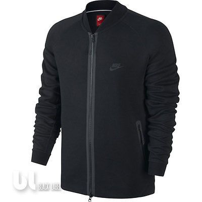 Nike Tech Varsity Jacke Herren Fleece Jacke Windjacke College Jacke Schwarz M