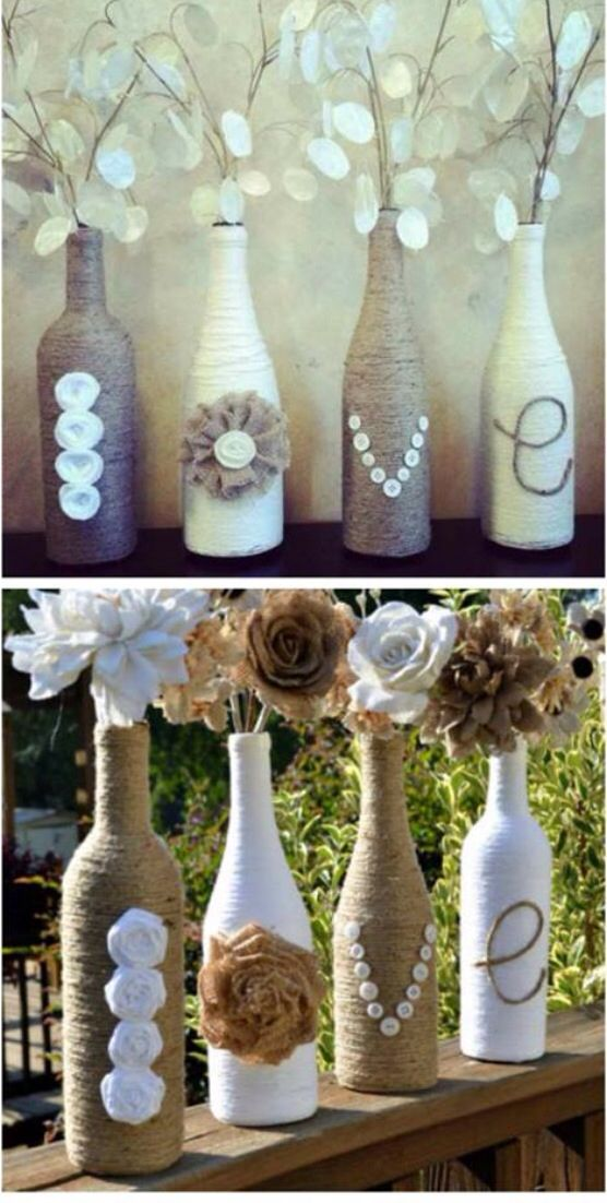 Something cute I found browsing around. Use old wine bottles, glue on hemp string around it. Adds letters to form words and incorporate flowers to dress it up.