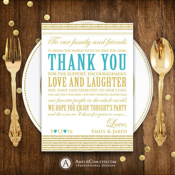 Table Thank You Cards Printable, Personalized Wedding Thank You Cards template Gold & Teal Blue Placement Thank You Cards INSTANT DOWNLOAD