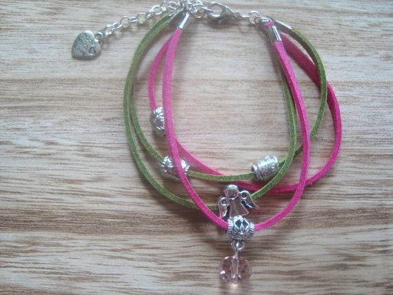 Jewelry Suede bracelet Pink and green color Charms by BiancasArt