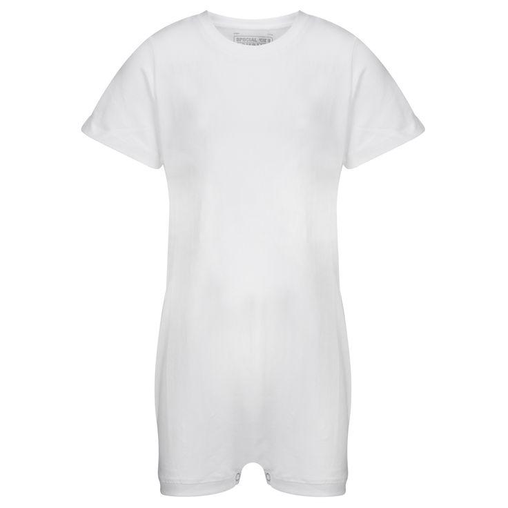 KayCey SUPER SOFT Bodysuit - Short Sleeve - WHITE    http://specialkids.company/
