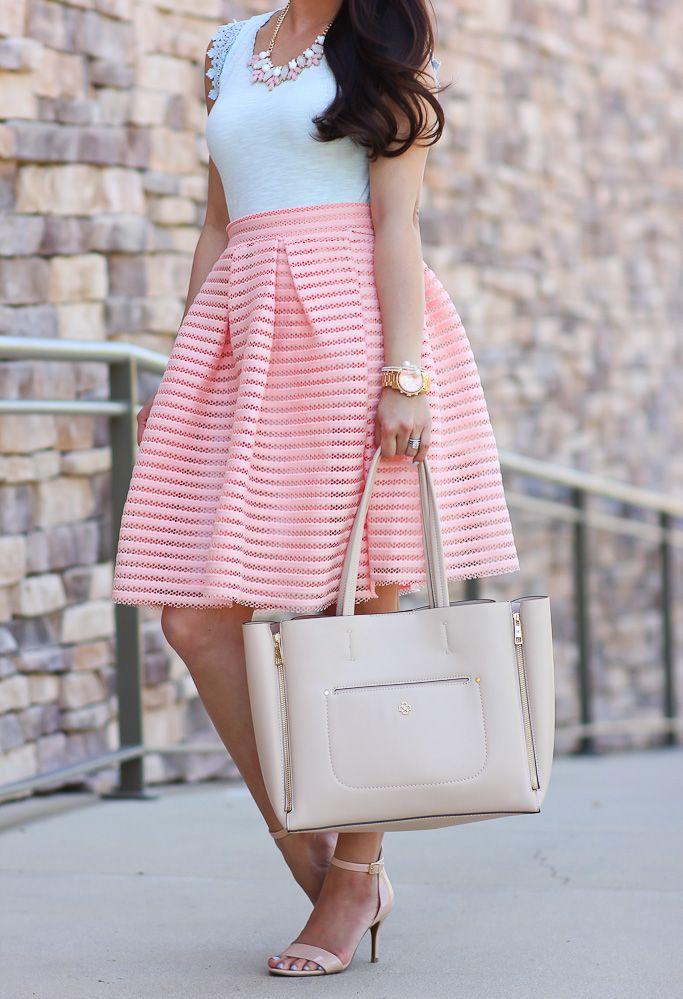 StylishPetite.com | Peach Flare Skirt and Denim Jacket