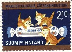 "Finland, 1991 - Postage stamp issued for the centenary of the famous Finnish confectionery industry Fazer: the first product produced was the Caramel ""Kiss-Kiss"" (""Puss-Puss"" in English)"