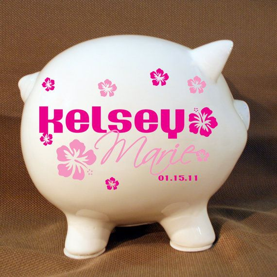 5.5 Flower Piggy Bank with Personalized Vinyl Decal
