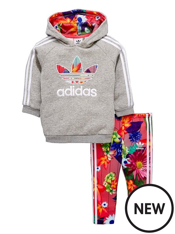 save off b7fef 31bb7 Adidas Originals Baby Girl Floral Trefoil Hooded Tracksuit