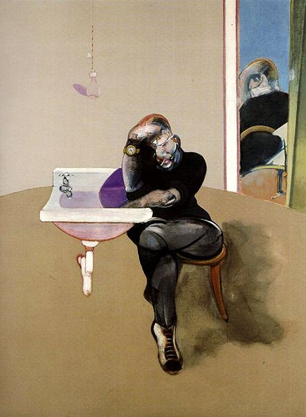 Francis Bacon was no easier on himself as a subject, as he was with others. He depicted himself just as he did with his sitters. In this self portrait the artist be suffering from a hangover. He could also be referring to time and death. Is the artist simply suffering from a headache or is his hidden wrist bleeding into the sink?