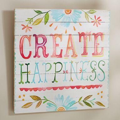 Create Happiness Watercolor Art #potterybarnteen