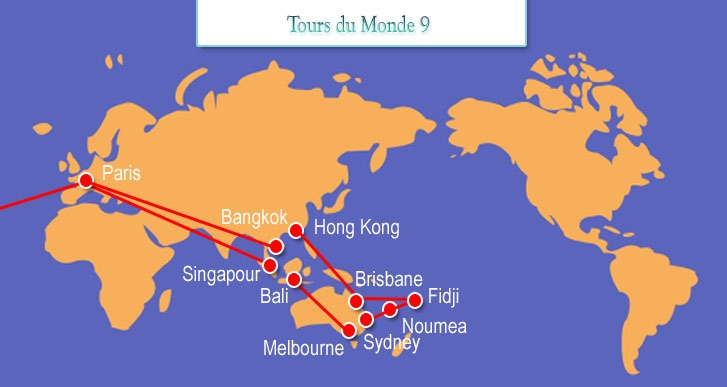 Australasie       PARIS - SINGAPOUR ou BANGKOK // BALI - MELBOURNE // SYDNEY - NOUMEA - FIDJI  - BRISBANE - HONG KONG // BANGKOK ou BOMBAY - PARIS (V.V.)