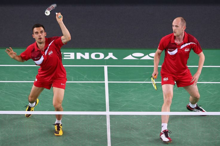 Chris Langridge and Peter Mills of England. 20th Commonwealth Games: Badminton