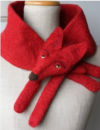 Knitting idea - felted fox scarf. Love this!