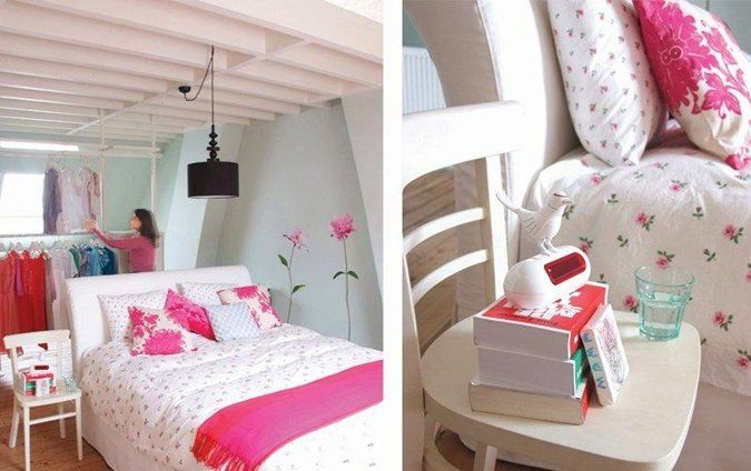 Frisse slaapkamer met vrouwelijke toets