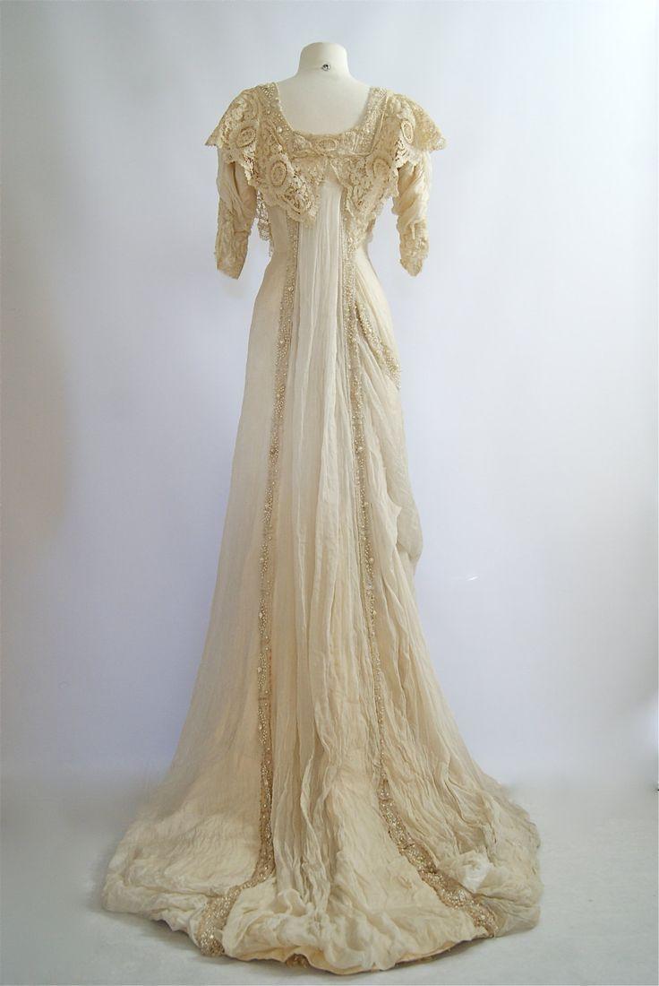 Ephemeral Elegance Pearl Beaded Wedding Dress With Gauze Train Ca 1900s Historical Dresses Vintage Dresses Edwardian Dress