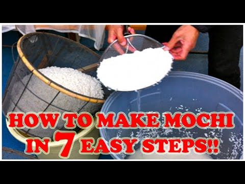 Mochi is a super chewy food made from glutinous rice.  It is the perfect compliment for a number of different Japanese dishes.  Here's how you make it in 7 easy steps.  ENJOY!