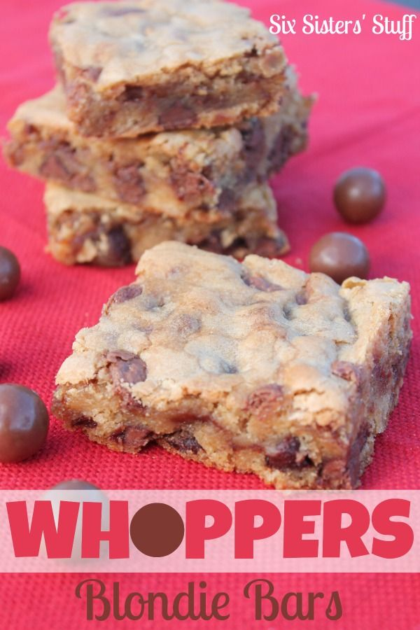 Whoppers Blondie Bars from SixSistersStuff.com.  The perfect way to use malted milk balls! #sixsistersstuff