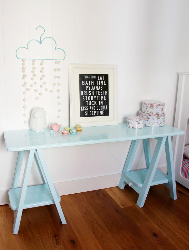 Cheeky Boy Blue trestle table by Plank and Trestle - www.plankandtrestle.com.au - kid's desk, trestle desk