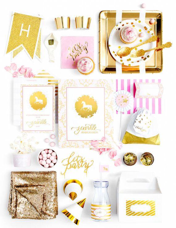 Unicornio suministros fiesta de cumpleaños, invitación fiesta Unicornio, unicornio cumpleaños, fiesta arco iris, 1er cumpleaños, fiesta en una caja