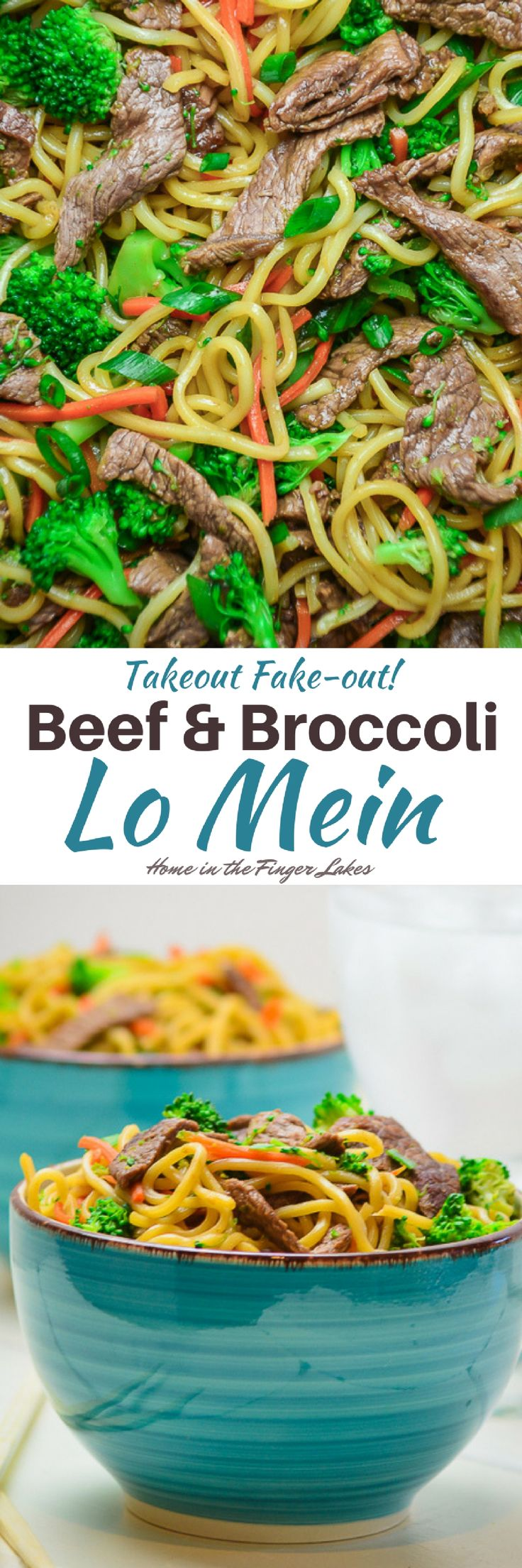 Dinner's on the table in 20 Minutes with this Beef and Broccoli Lo Mein. Tender Moyer Beef sirloin steak strips tossed with veggies and lo mein noodles in a flavorful sauce is the perfect weeknight meal.  #Sponsored