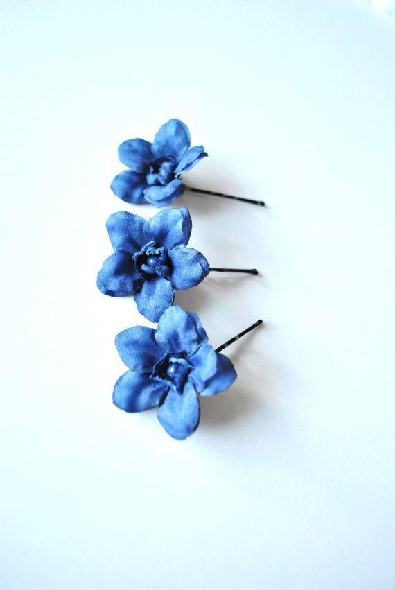 Flower hair pins hair slides hair grip bobby pins any colour Delphinium flowers