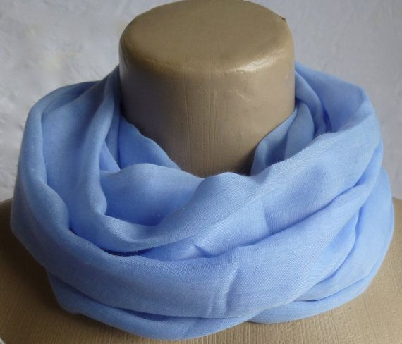 Infinity Scarf Light blue Super Soft 3 Loop by ShawlsandtheCity, $17.00