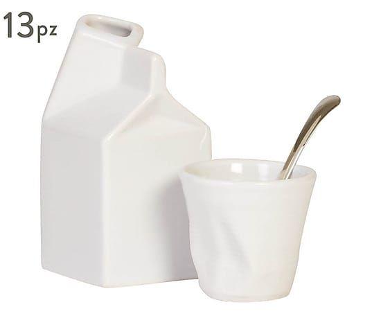 Set di 6 bicchierini caffè in gres con cucchiaini e lattiera bianco, 115 ml