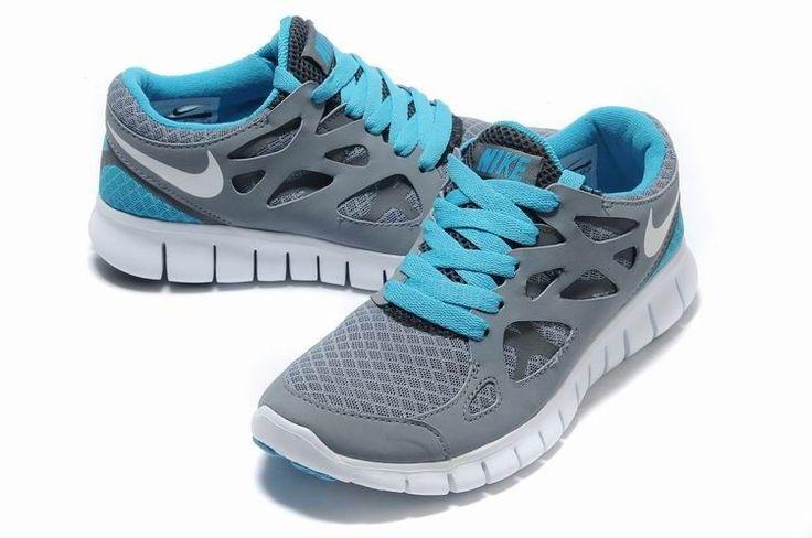 Nike Free Run 2 Women Grey White Blue Shoes  Cute!
